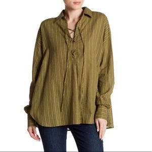 Free People | under the boardwalk green shirt
